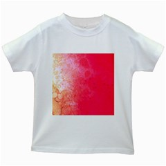 Abstract Red And Gold Ink Blot Gradient Kids White T Shirts by Jojostore