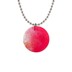 Abstract Red And Gold Ink Blot Gradient 1  Button Necklace