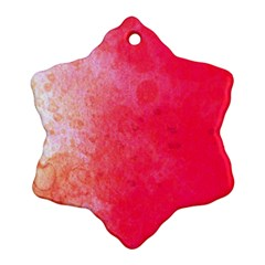 Abstract Red And Gold Ink Blot Gradient Snowflake Ornament (two Sides) by Jojostore