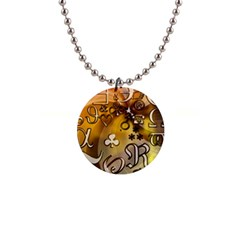 Symbols On Gradient Background Embossed 1  Button Necklace