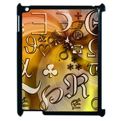 Symbols On Gradient Background Embossed Apple Ipad 2 Case (black)