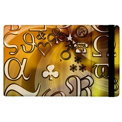 Symbols On Gradient Background Embossed Apple Ipad 2 Flip Case by Jojostore