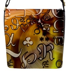 Symbols On Gradient Background Embossed Flap Closure Messenger Bag (s) by Jojostore