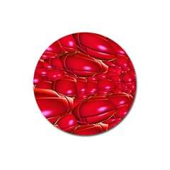 Red Abstract Cherry Balls Pattern Magnet 3  (round) by Jojostore