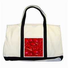 Red Abstract Cherry Balls Pattern Two Tone Tote Bag by Jojostore