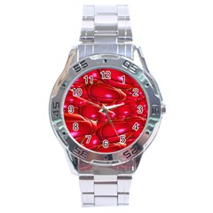 Red Abstract Cherry Balls Pattern Stainless Steel Analogue Watch by Jojostore