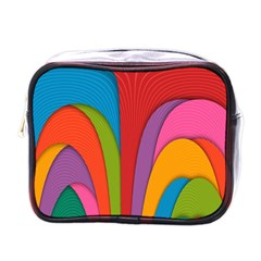 Modern Abstract Colorful Stripes Wallpaper Background Mini Toiletries Bag (one Side) by Jojostore