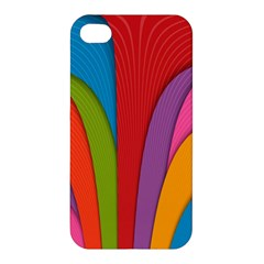 Modern Abstract Colorful Stripes Wallpaper Background Apple Iphone 4/4s Premium Hardshell Case