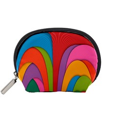 Modern Abstract Colorful Stripes Wallpaper Background Accessory Pouch (small)