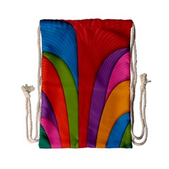 Modern Abstract Colorful Stripes Wallpaper Background Drawstring Bag (small)
