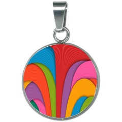 Modern Abstract Colorful Stripes Wallpaper Background 20mm Round Necklace