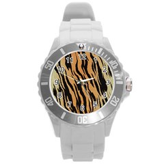 Tiger Animal Print A Completely Seamless Tile Able Background Design Pattern Round Plastic Sport Watch (l)