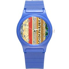 Digitally Created Collage Pattern Made Up Of Patterned Stripes Round Plastic Sport Watch (s) by Jojostore