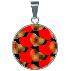 Heart Pattern 25mm Round Necklace