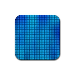 Seamless Blue Tiles Pattern Rubber Square Coaster (4 Pack)  by Jojostore