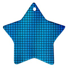 Seamless Blue Tiles Pattern Star Ornament (two Sides)
