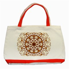 Golden Filigree Flake On White Classic Tote Bag (red) by Jojostore