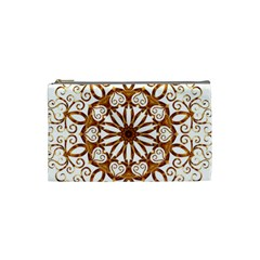 Golden Filigree Flake On White Cosmetic Bag (small) by Jojostore
