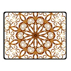 Golden Filigree Flake On White Fleece Blanket (small) by Jojostore
