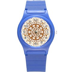 Golden Filigree Flake On White Round Plastic Sport Watch (s) by Jojostore