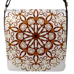Golden Filigree Flake On White Flap Closure Messenger Bag (s)