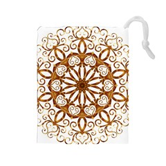 Golden Filigree Flake On White Drawstring Pouch (large)