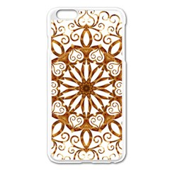 Golden Filigree Flake On White Apple Iphone 6 Plus/6s Plus Enamel White Case by Jojostore