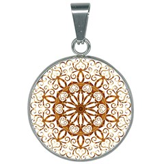 Golden Filigree Flake On White 25mm Round Necklace