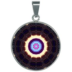 Mandala Art Design Pattern Ornament Flower Floral 30mm Round Necklace by Jojostore