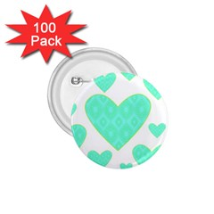 Green Heart Pattern 1 75  Buttons (100 Pack)
