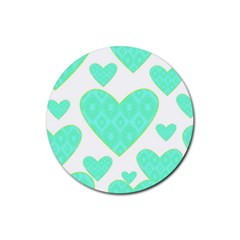 Green Heart Pattern Rubber Round Coaster (4 Pack)