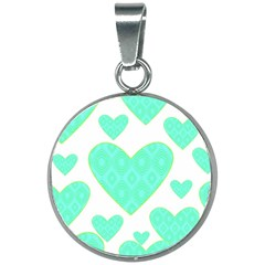 Green Heart Pattern 20mm Round Necklace