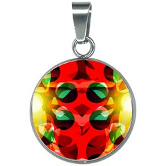 Abstract Abstract Digital Design 20mm Round Necklace