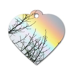 Rainbow Sky Spectrum Rainbow Colors Dog Tag Heart (two Sides)