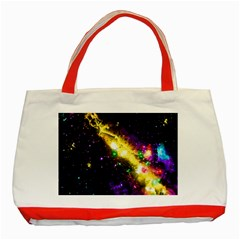 Galaxy Deep Space Space Universe Stars Nebula Classic Tote Bag (red) by Jojostore