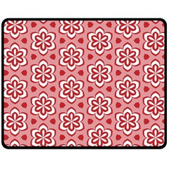 Floral Abstract Pattern Double Sided Fleece Blanket (medium)