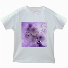 Wonderful Flowers In Soft Violet Colors Kids White T Shirts by FantasyWorld7