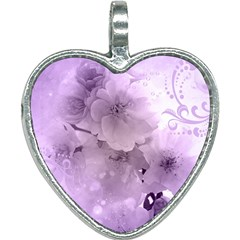 Wonderful Flowers In Soft Violet Colors Heart Necklace by FantasyWorld7