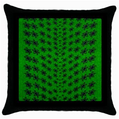 Forest Flowers In The Green Soft Ornate Nature Throw Pillow Case (black)