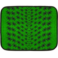 Forest Flowers In The Green Soft Ornate Nature Fleece Blanket (mini) by pepitasart