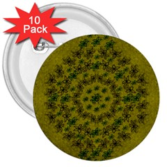Flower Wreath In The Green Soft Yellow Nature 3  Buttons (10 Pack)  by pepitasart