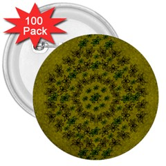 Flower Wreath In The Green Soft Yellow Nature 3  Buttons (100 Pack)  by pepitasart