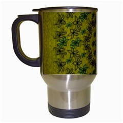 Flower Wreath In The Green Soft Yellow Nature Travel Mugs (white) by pepitasart
