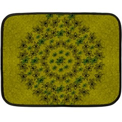 Flower Wreath In The Green Soft Yellow Nature Double Sided Fleece Blanket (mini)  by pepitasart