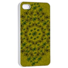 Flower Wreath In The Green Soft Yellow Nature Apple Iphone 4/4s Seamless Case (white) by pepitasart