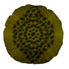 Flower Wreath In The Green Soft Yellow Nature Large 18  Premium Flano Round Cushions by pepitasart