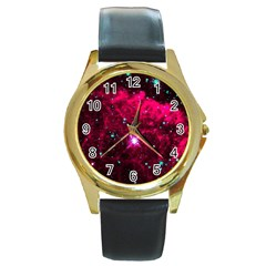 Pistol Star And Nebula Round Gold Metal Watch by Jojostore