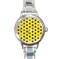 Yellow Fractal In Kaleidoscope Round Italian Charm Watch by Jojostore