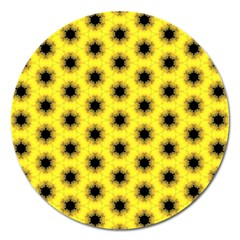 Yellow Fractal In Kaleidoscope Magnet 5  (round)