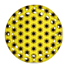 Yellow Fractal In Kaleidoscope Round Filigree Ornament (two Sides) by Jojostore